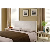Kings Brand Furniture Tufted Design Upholstered Adjustable Headboard, Full/Queen, White