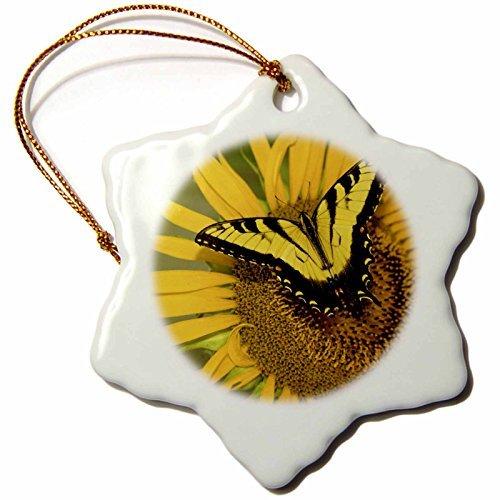 OneMtoss NJ, Sunflower, Tiger Swallowtail Butterfly US AJN Alison Jones Snowflake Ornament, Porcelain, ()