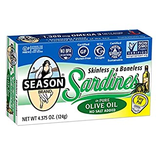 Season Skinless & Boneless Sardines in Olive Oil, No Salt Added, 4.375-Ounce Tins (Pack of 6)