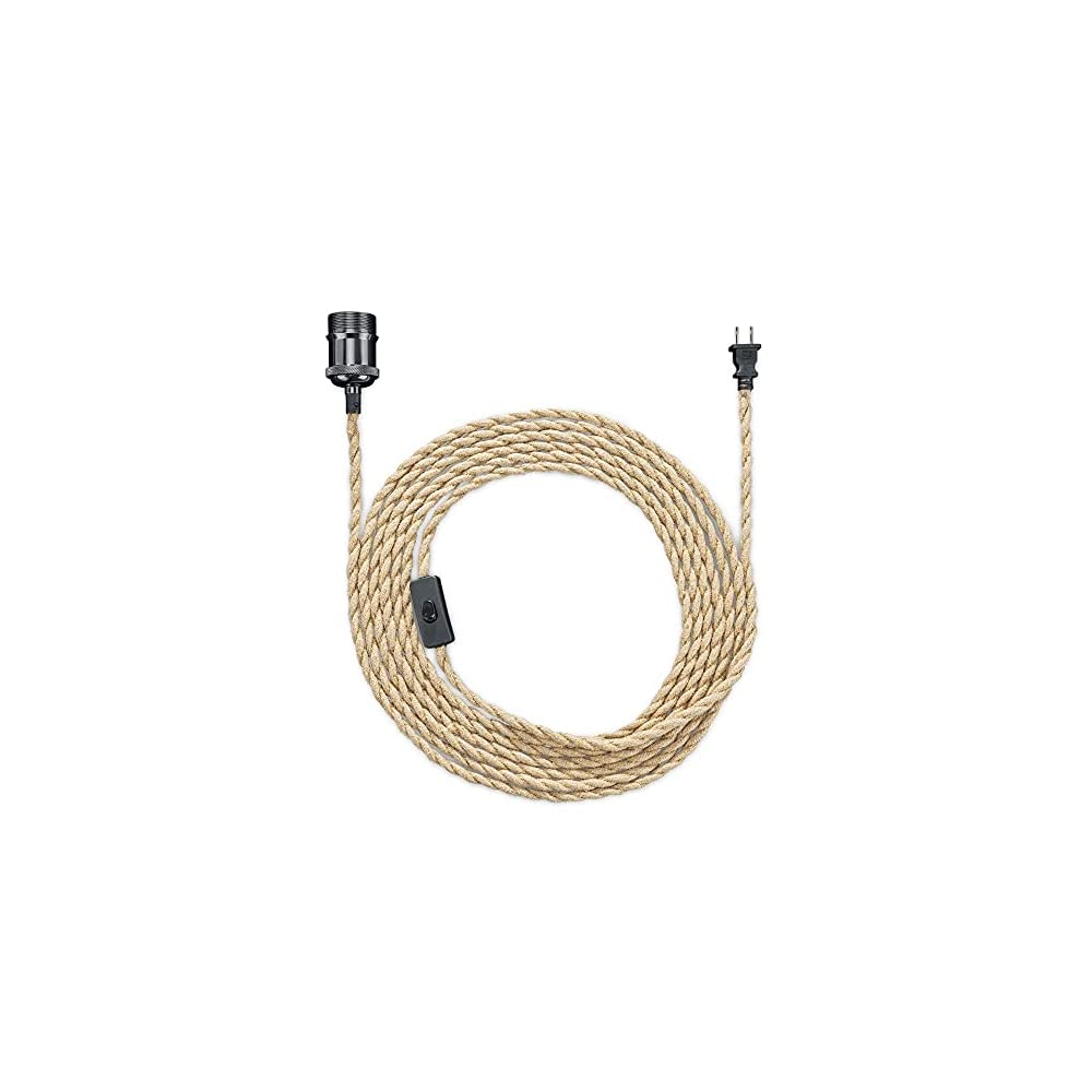 kwmobile Rope Light Cord with Switch - 20FT Plug-in Pendant Lighting Cable Kit with Metal E26 Bulb Socket - Vintage…