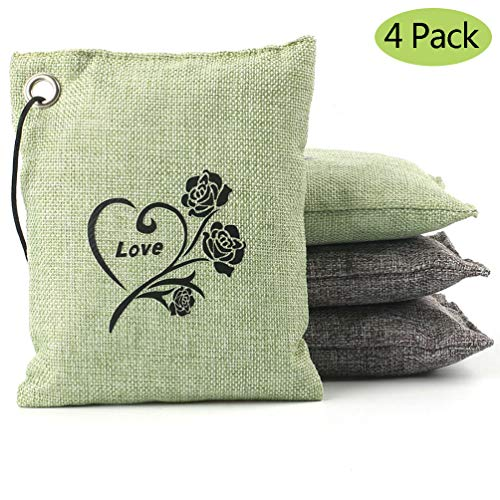 (datonten Natural Bamboo Charcoal Air Purifying Bag Deodorizer and Air Freshener Bags for Home, Bedrooms, Kitchen, Bathroom, Fridge, Closet, Car and Pet Areas (4 Pack 200G))