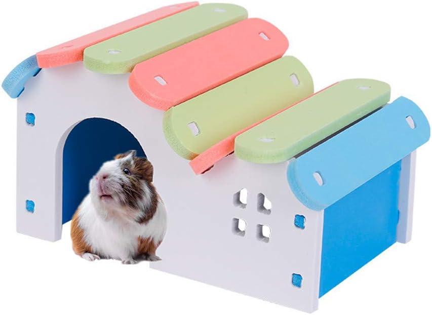 Juguetes Hamster Nuevo Nido De Hámster De Estilo Japonés Pequeña Casa De Color para Mascotas Hamster Accesorios Casa Hamster Hamster Accesorios Juguetes De Madera para Mascotas Blue