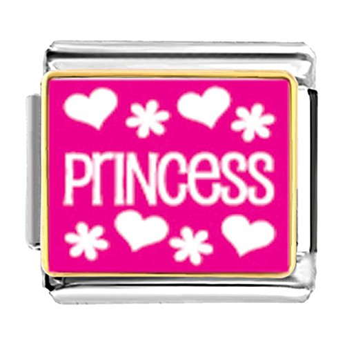 (GiftJewelryShop Gold Plated Princess Bracelet Link Photo Italian Charms)