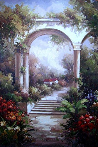 Garden gate-Original landscape oil painting-Hand painted home Decor scenery paintings on - Landscape Garden Gate