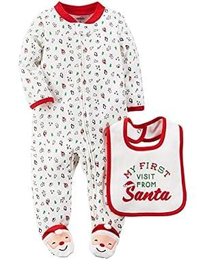 Carters Unisex Baby 2-Piece Santa Bib & Sleep & Play Set White