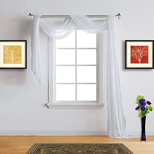 Warm Home Designs Standard Length Bright White Sheer Window Scarf. All Premium Valance Scarves are 54 X 144 Inches in Size and are Great Window Accessory for Any Home. Color: K White 144