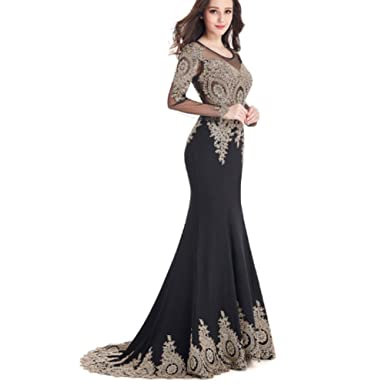 Rudina Long Sleeve Mermaid Lace Prom Dresses Sexy Sheer Back Evening Party Dress Black,2
