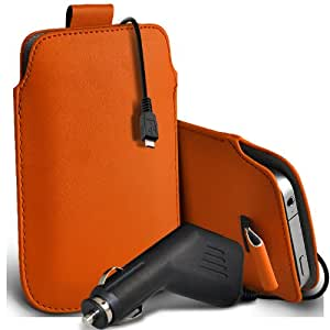 Nokia Lumia 822 premium protección PU ficha de extracción Slip In Pouch Pocket Cordón Piel Con 12v USB Micro en Car Charger naranja por Spyrox