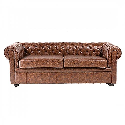3er Sofa - Ledersofa - Ledercouch Old Style braun - CHESTERFIELD