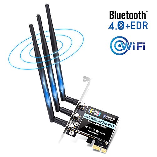 ZEXMTE Wireless Network Card AC1200Mbps WiFi PCIe Network Adapter Card 5GHz/2.4GHz Internet Network Card with 3×5dBi High Gain Antenna,WiFi Card with Bluetooth Function