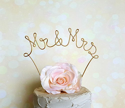 MR & MRS Wedding Cake Topper in GOLD Finish Special Events Decoration (Topper Gold Cake Monogram)