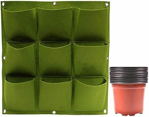 Tryah 9 bolsillos de pared vertical para colgar macetas de cultivo con 9 unidades de plástico para guardería para interior y exterior, balcón, jardín, decoración del hogar: Amazon.es: Jardín