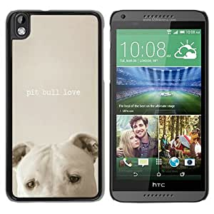 New Fashion Custom Designed Cover Case For HTC Desire 816 With pit bull love Black Phone Case