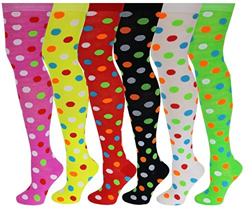 - 6 Pairs Pack Women Multi Neon Color Fancy Design Thigh High Over the Knee Socks Stockings (6 Pairs Polka Dot)