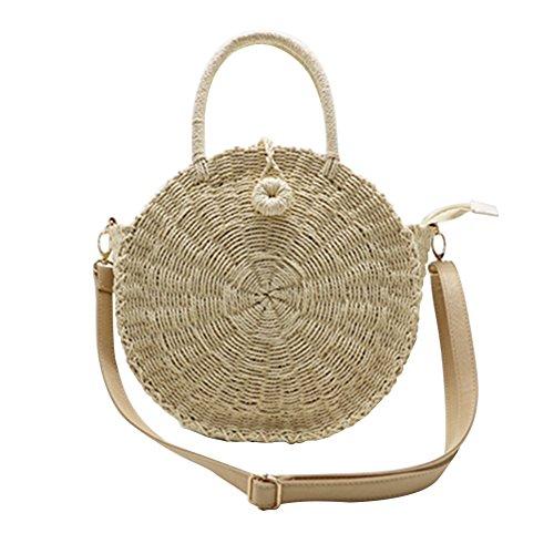 Sac de plage en paille tissée ronde Sac de voyage en sac à bandoulière double usage - Camel Beige