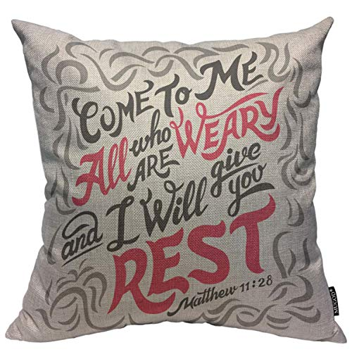 Mugod Bible Verse Quote Throw Pillow Cover Come to Me All Who are Weary and I Will Give You Rest Decorative Square Pillow Case for Home Bedroom Living Room Cushion Cover 18x18 Inch