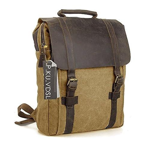 Canvas Backpack, P.KU.VDSL 15.6 Inch Laptop Backpack, Unisex Vintage Canvas Leather Notebook Backpack, Casual Daypack, Retro School Backpack, Travel Bags, Shoulder Bag for Men Women Outdoor Sports