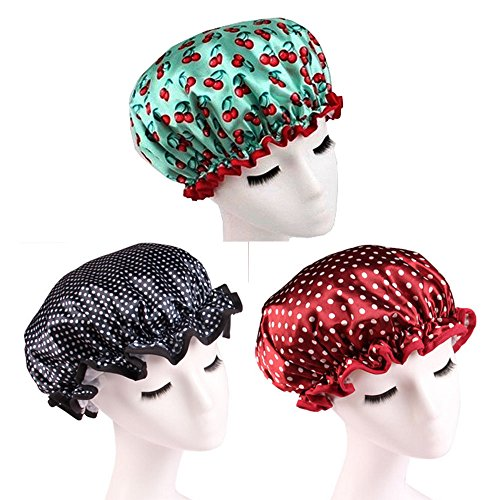 Fashion Design Beautiful Reusable Shower cap - Set of 3 (Green Cherry/Black(Polka dot)/Red(Polka dot))