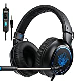 PS4 Gaming Headset SADES R5 Over-ear Stereo Bass New Xbox One Gaming Headphones with Microphone 3.5mm Plug Noise Cancelling Headset with Mic Control Remote for PlayStation 4/PC/Mobile/iPad/Tablet