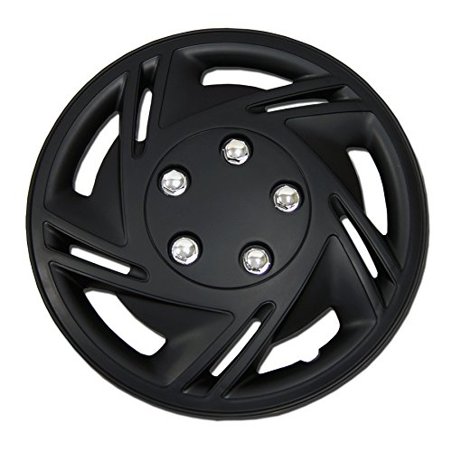 TuningPros WC-14-9602-B 14-Inches Pop On Type Improved Hubcaps Wheel Skin Cover Matte Black Set of 4 - S10 Hubcap
