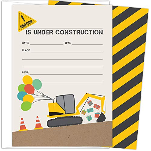 Koko Paper Co Construction Themed Party Invitations. Set of 25 Fill-In Style Cards and White Envelopes. Fun Design with Excavator and Balloons - Perfect for Birthday, Baby Shower, or any Occasions.]()