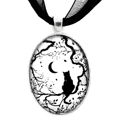 Laura Milnor Iverson Zen Cat Necklace New Moon Black and White Silhouette Handmade Art Pendant Jewelry Boho