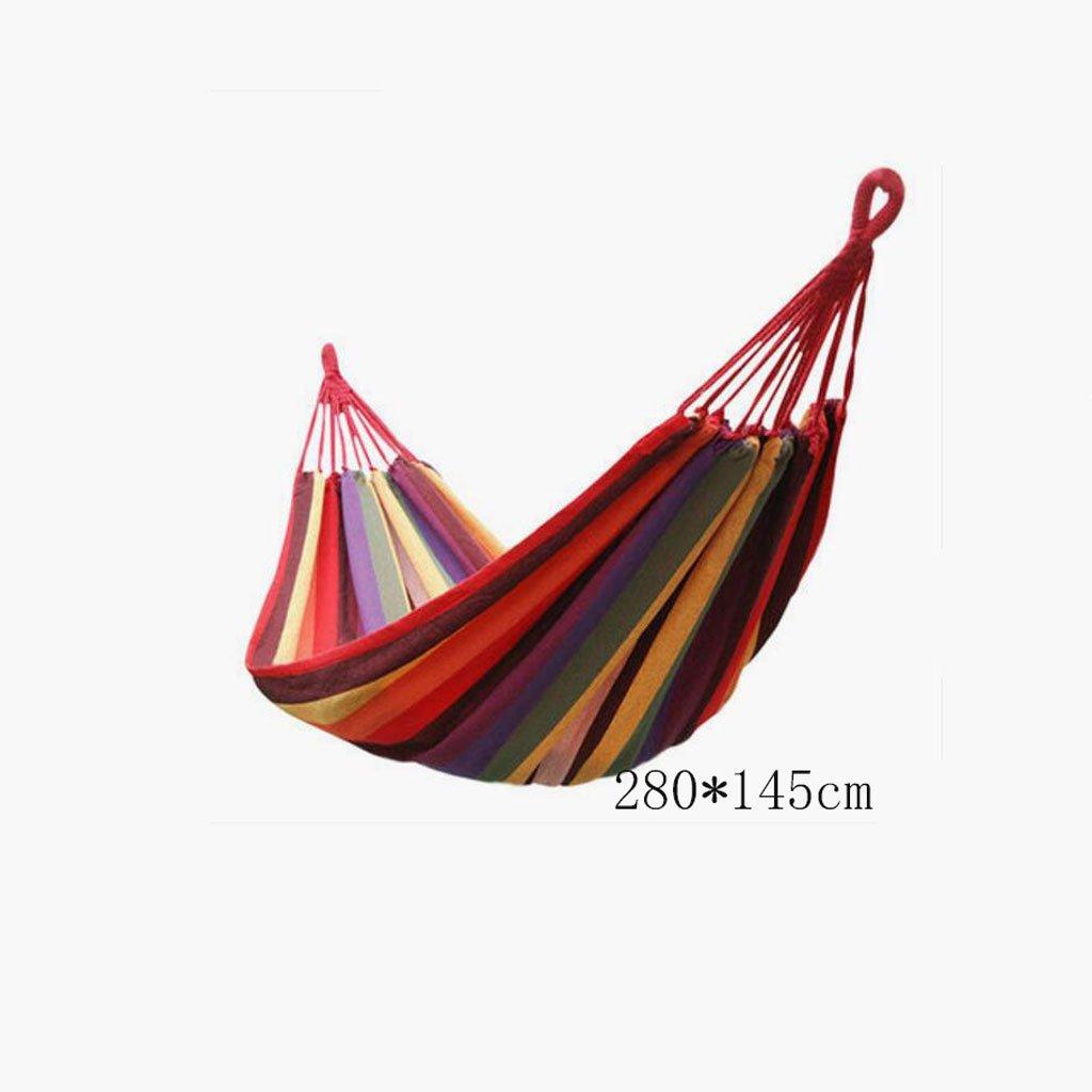 Hängematte Outdoor Hängematte Freizeitcamping Schaukel Hängematte Balkon Hängematte Camping tragbare Hängematte rote Leinwand gestreifte Hängematte (kommt mit einem Seil, hängenden Haken, Aufbewahrungstasche), (280  145