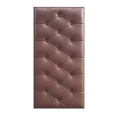 CAOXN 3D Soft PE Foam Faux Leather Wall Panels, Self Adhesive Wall Removable Sticker Waterproof Wallpaper Anti Collision for Nursery Baby Kids Room,Brown,10Pcs: Kitchen & Dining [5Bkhe0401518]