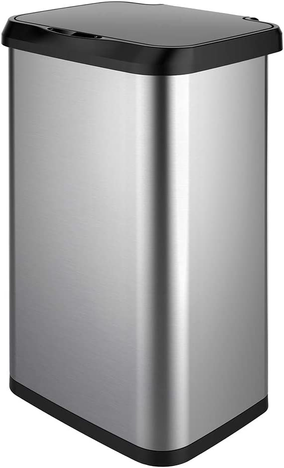 GLAD Extra Capacity Stainless Steel Sensor Trash Can with Clorox Odor Protection of The Lid | Fits All 20 Gallon Waste Bags
