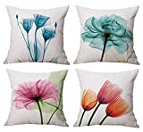 Geepro 18 x 18 inch Floral Decorative Throw Pillow Cover Flower Sofa Cushion Covers Set of 4 (Blue)