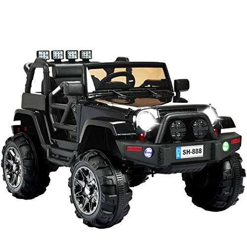 (Uenjoy Ride on Car 12V Battery Power Children's Electric Cars Motorized Cars for Kids with Wheels Suspension,Remote Control, 4 Speeds, Head Lights,Music,Bluetooth Remote Controller,Black)