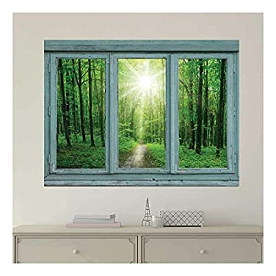 Gorgeous Work of Art, With a Professional Touch, Vintage Teal Window Looking Out Into a Green Forest and The Sun Wall Mural