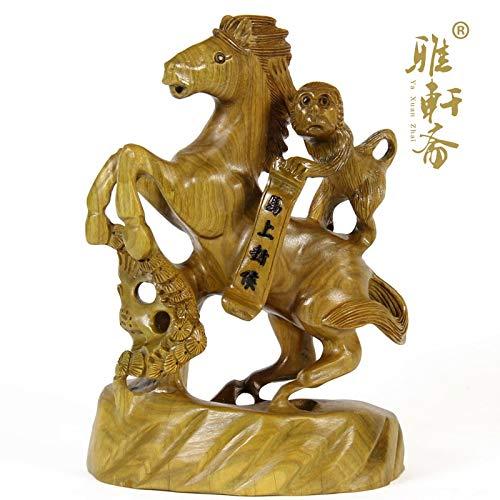 ZAMTAC Wood Crafts Mahogany red Sandalwood Wood Green Horse Immediately Fenghou Monkey Business Gifts feng Shui Ornaments