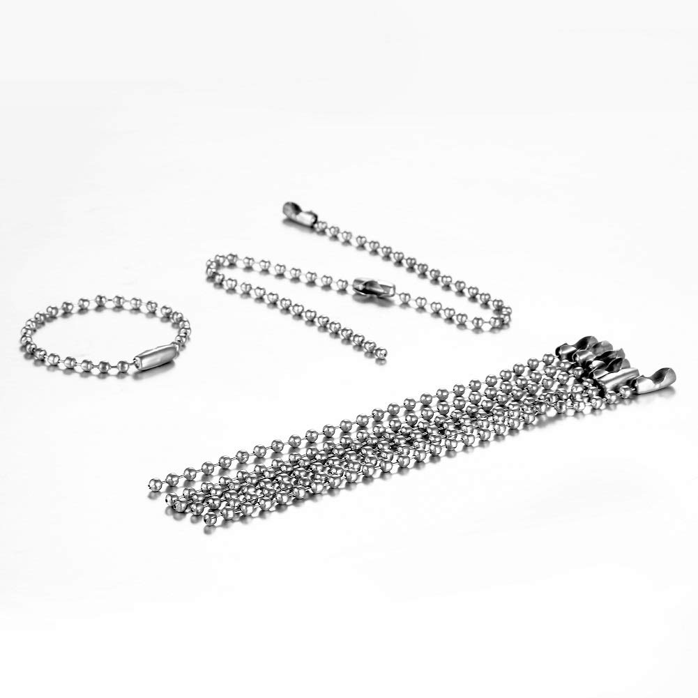 Housweety 100pcs Silver Tone Connector Clasp Ball Chains Keychain Tag 12cm 12CM-100PCS