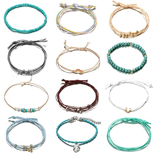 BOMAIL 12 Pieces Braided Rope String Adjustable Boho Ankle Bracelets Set Hawaii Jewelry Anklets Gifts for Women Girls (Ankle Bracelets For Women Leather)