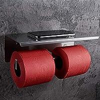 SimpleHome roestvrijstalen toiletpapierhouder voor 2 rollen zonder boren, dubbele toiletrolhouder met opbergruimte voor…