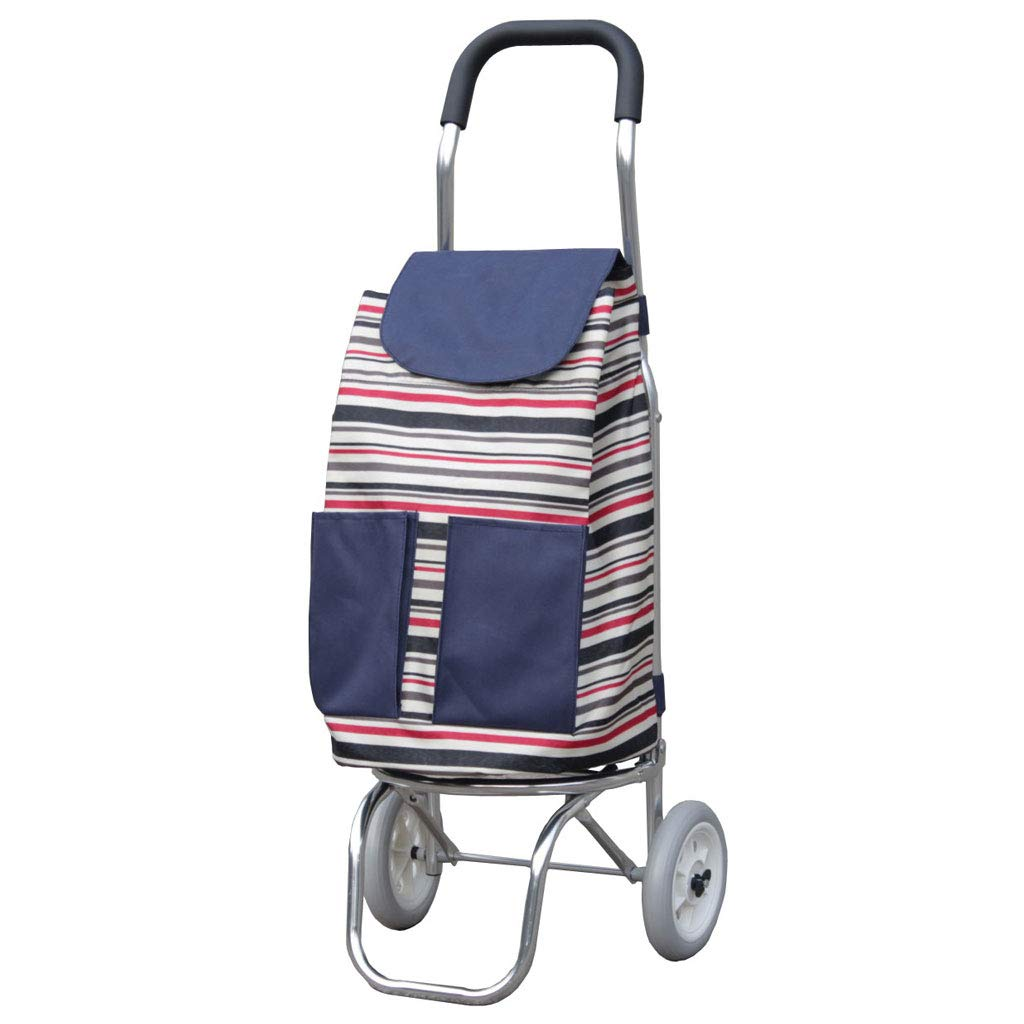 Color : D, Size : 8735CM LBY Two-Wheel Aluminum Alloy Ultra Light Portable Folding Trolley Shopping Trolley