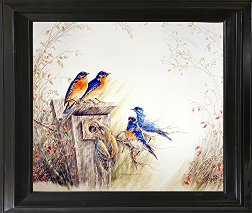 Bluebirds on Tree Feeder Bird Animal Wall Decor Black Framed Art Print (Bird Feeder Tree Art)
