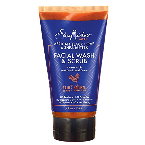- Shea Moisture African Black Soap & Shea Butter Facial Wash & Scrub Cleansing for Men, 4 Ounce