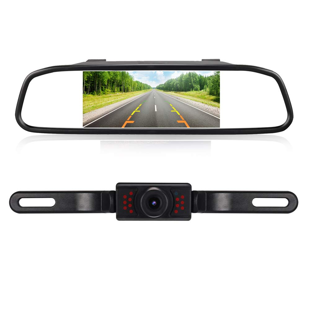 L013+S4-005 RAAYOO High Definition Color Wide Viewing Angle License Plate Car Rear View Camera with 4.3 TFT Color LCD Monitor