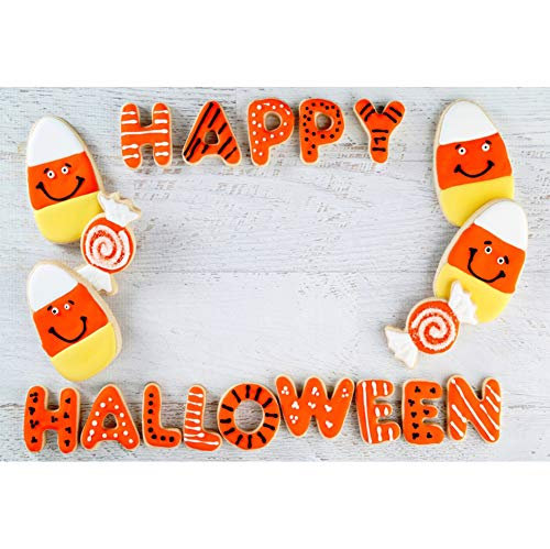 Laeacco Happy Halloween Backdrop 7x5ft Trick or Treat Photography Background Cute Orange Candy Wooden Table Stripes Autumn Holiday Decor Baby Kids Girls Hallowmas Party Portrait Shoot Poster -