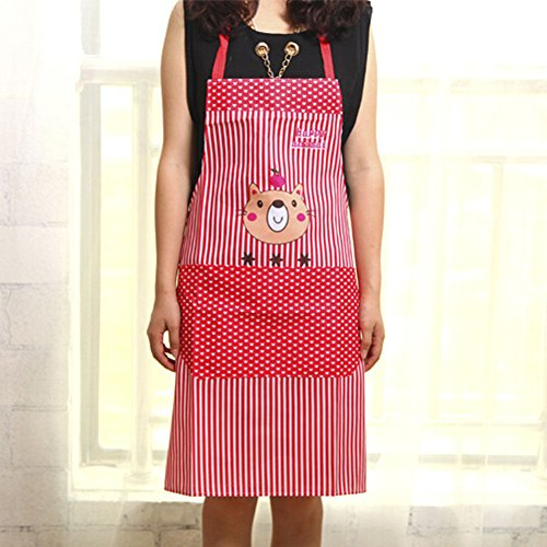 Stylish Cartoon Bear Stripe Dot Apron Waterproof Chef Kitchen Bib With Pocket (Colour: Red) N@N