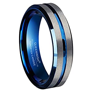 Queenwish 6mm Tungsten Ring for Men Women Blue Silver Groove Men's Wedding Bands Beveled Edges Promise Rings Size 4 to…