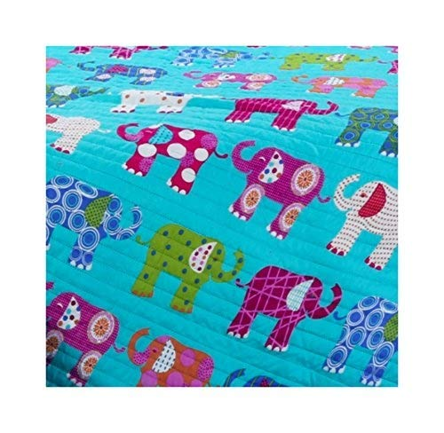 Adrien Girls Bedding Reversible Quilt and Pillow Sham Set, 2pc Microfiber Quilt Sets, Choice of TWIN or FULL, Multiple Designs (Turquoise Elephants, TWIN)