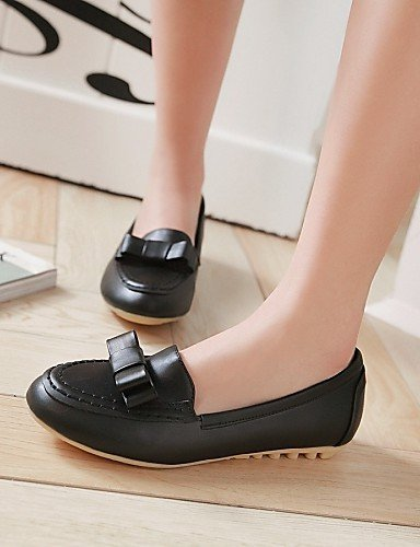 rojo cn34 negro PDX punta de plano us5 Flats black blanco talón eu35 piel uk3 sintética redonda zapatos de mujer Casual 4HwqO47