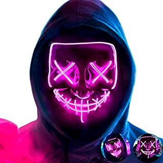 MeiGuiSha LED Halloween Purge Mask,Halloween Scary Cosplay Light up Mask for Festival Parties(Purple)