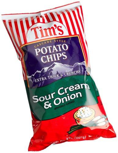 Tim's Cascade Style Potato Chips, Sour Cream & Onion, 8 - Cascade Cream