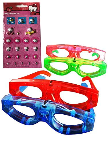2 Item Bundle : Party Favors 12 Piece Light up Flashing, Blinking Birthday Party Favor Glasses for Kids( Red, Green, Blue, Pink ) & 1 Sheet of Assorted Hello Kitty Puffy Stickers