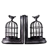 LPY-Set of 2 Bookends Resin Retro Birdcage Handicrafts,Book Ends for Office or Study Room Home Shelf Decorative