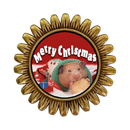 ent Style Gold-Plated Christmas Hamster with Cookie Sunflower Pins Brooch ()